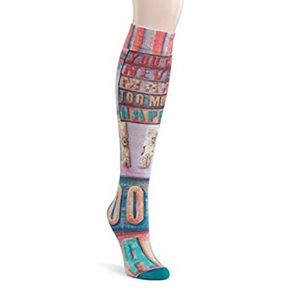 Never Too Much Happy Hodge Podge Knee High Socks